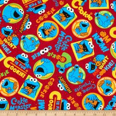 EXCLUSIVE Stretch Knit Sesame Street Digital Cookie Monster Toss Red - Fabric.com