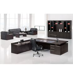 Emboss Oak Executive Wooden Office Desk
