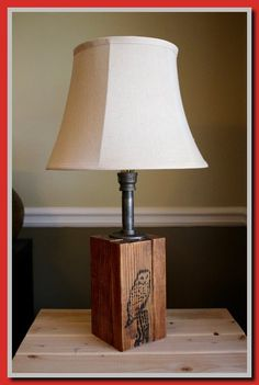 Rustic Wooden Table Lamp with Owl // Burlap Lampshade // Iron Pipe Fittings and Wood // Unique Lamps Valentine Day Table Decorations, Table Lamp, Diy Lamp Shade, Diy Light Shade, Led Light Bulbs, Rustic Wooden Table, Vanity Light Shade, Burlap Lampshade, Wooden Table Lamps