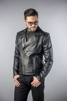 Leather biker jachet black (1)