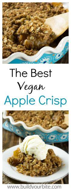 The BEST Vegan Apple Crisp Recipe – I can't get enough of this! The BEST Vegan Apple Crisp Recipe – I can't get enough of this! Healthy Vegan Dessert, Cake Vegan, Vegan Dessert Recipes, Vegan Treats, Delicious Vegan Recipes, Vegan Foods, Vegan Snacks, Vegan Dishes, Baking Recipes