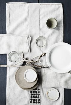neutrals, linens, simple organic forms, natural elements