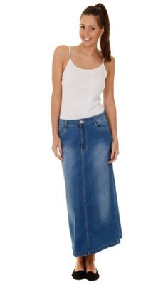 Long Denim Skirt (Rita Indigo). Available in UK Sizes 12-22 ...