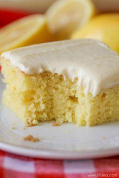 Lemon Sheet Cake-beckys birthday cake  Use yellow cake mix with lemon pudding and extra lemon juice in cake and frosting