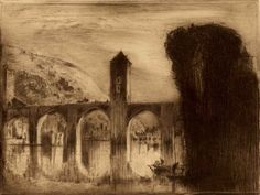 Sir Frank Brangwyn (1867–1956) Le Pont Valentre, A Cahors, 1912 from Revue de L'Art Ancien et Moderne Etching in sepia ink on cream wove paper, printed by Chardon Wittman with original tissue guard 18 x 24 cm (plate); 22.6 x 30.9 cm (sheet)