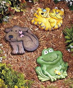 """This Animal Garden Stone is an endearing addition to your walkway or flower bed. The whimsical design features vibrant colors and is sure to enhance the look of your garden. Approx. 11""""W x 11""""L. Cement. Includes a keyhole opening on back for hanging.Cute"""