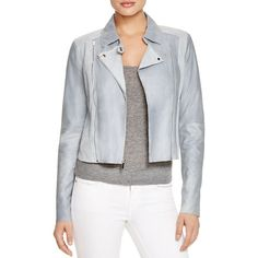 Paige Denim Silvie Leather & Suede Moto Jacket ($960) ❤ liked on Polyvore featuring outerwear, jackets, blue fog, leather motorcycle jacket, blue biker jacket, genuine leather jacket, suede moto jacket and leather jacket