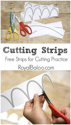 Cutting practice has been a hot topic around here lately. Logi-Bear is desperate to learn to cut,but Royal is the one that is really at the cutting age. I try to do most of our cutting practice incognito…in the form of crafts! But sometimes you just need a bit more, right? I made these strips …