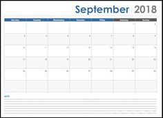 September 2018 Calendar Template In Ms-Word Format – Free Printable Calendar September Calendar 2018, Excel Calendar Template, Printable Calendar Template, Calendar 2020, Calendar Wallpaper, Monthly Calendars, Monthly Planner, Microsoft, Notes