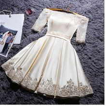 Short Sleeve Party Dresses, White Short Sleeve Homecoming Dresses, Short Prom Dresses, 2017 Homecoming Dress Off-the-shoulder Satin Short Prom Dress Party Dress Hoco Dresses, Prom Dresses With Sleeves, Lace Bridesmaid Dresses, Prom Party Dresses, Formal Dresses, Dress Party, Party Gowns, Tea Length Dresses, Pageant Dresses