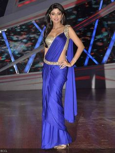 Shilpa Shetty sizzles in electric blue sari on the sets of television dance reality show Nach Baliye 6, in Mumbai.