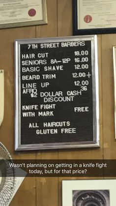 The sign at my local barber shop