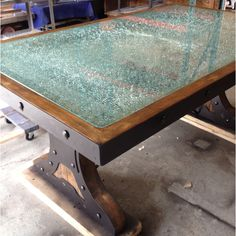 Shattered glass table with reclaimed wood and steel----Eeeehaaaa