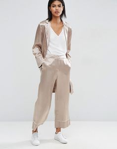 Image 1 of ASOS Wide Leg Pant with Piping Detail