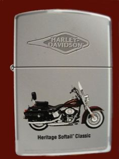 Harley Davidson Motor Cycles Heritage Softail Classic Zippo Lighter. ZippoCollectibles.com Harley Davidson Heritage, Zippo Harley Davidson, Harley Davidson Motor, Cool Lighters, Harley Davison, Motorcycle Types, Light My Fire, Zippo Lighter, Pin Up Art