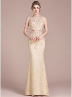 Trumpet/Mermaid Scoop Neck Floor-Length Lace Prom Dress With Beading Sequins (018093802)