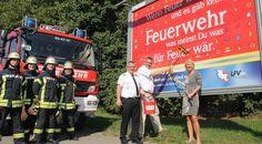 Der LFV Schleswig-Holstein wirbt auf Großplakaten für die freiwillige Feuerwehr…