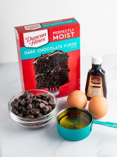 Brownies made out of dark chocolate fudge cake mix Cake Mix Recipes, Brownie Recipes, Dessert Recipes, Bar Recipes, Cake Mix Brownies, Cake Mix Cookies, Chocolate Fudge Cake, Chocolate Chips, Sweet Desserts
