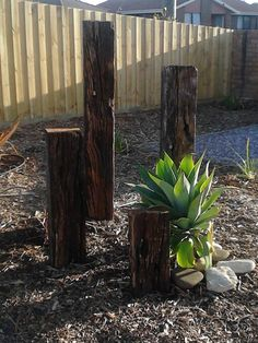 I reused these old railway sleepers for a bit of garden art