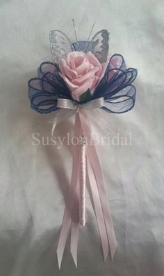 Artificial Wedding Flowers Bridesmaids Bouquet Wand Light Vintage Pink Rose, Navy And Silver Butterfly Flower Girl by Susyloubridal on Etsy