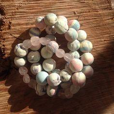 Set of three stretch bracelets Never worn pastel round balls and rose quartz Jewelry Bracelets