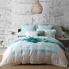 Meandros Teal Quilt Cover Set by Logan & Mason