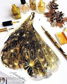 Wonderful Black Gold Jewelry For Beautiful Pieces Ideas. Breathtaking Black Gold Jewelry For Beautiful Pieces Ideas. Illustration Mode, Fashion Illustration Sketches, Fashion Sketches, Arte Fashion, Paper Fashion, Moda Fashion, Couture Fashion, Dress Fashion, Fashion Design Sketchbook
