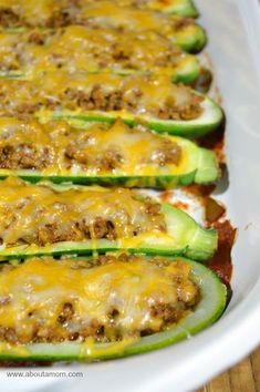 "Taco Stuffed Zucchini Boats Recipe. I use walnut ""taco meat"" and my family doesn't even know it's not ""meat"".  These are incredibly delicious."