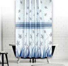 Kék Mezei Virágok zuhanyfüggöny Curtains, Shower, Bathroom, Prints, Rain Shower Heads, Washroom, Blinds, Full Bath, Showers