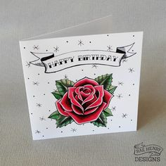 Traditional Rose Tattoo Birthday Card by RaeHenryDesigns on Etsy