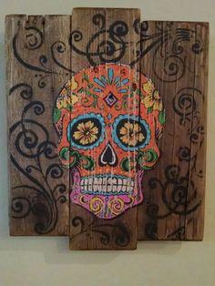 Pumpkin Spice Sugar Skull Rustic Pallet Sign by DesertMamas: