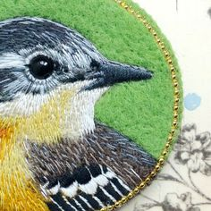 wagtail bird brooch needle felted embroidered animal by cOnieco