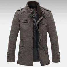 Mens Knitted Stand Collar Wool Blend Tweed Coats Long Jackets at Banggood