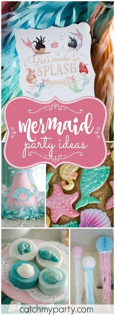 You have to see this lovely vintage mermaid girl birthday party! See more party ideas at Catchmyparty.com!