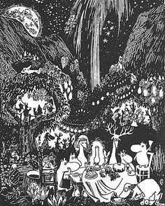 Moomins at night - by Tove Jansson Art And Illustration, Ink Illustrations, Kunst Inspo, Art Inspo, Moomin Valley, Tove Jansson, Spirited Art, Lovely Creatures, Detailed Drawings