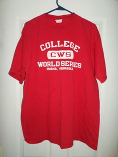 Men's White & Red COLLEGE WORLD SERIES OMAHA, NEBRASKA NCAA Shirt, Size XL, GUC! #Champion #CollegeWorldSeriesCWS