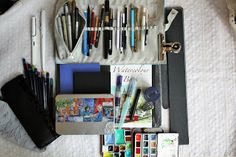 Sarah J. Loecker : Urban Sketching Kit Urban sketching supplies for travelling Living In Europe, Urban Sketching, Travel Kits, Art Supplies, Austria, Travelling, Italy, How To Plan, Drawing