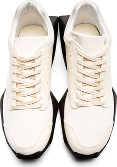 Rick Owens: White & Black Sculpted Sole Adidas Edition Sneakers