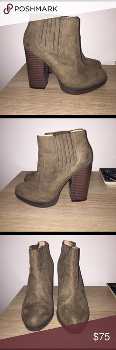 Zara Tan Booties - adorable and barely worn!! Bought these booties from Zara two years ago and have worn maybe once or twice outside of my apartment! They're basically in new condition. Chunky heel suede (imitation I think) bootie - super comfortable and perfect for transitioning into spring!! Zara Shoes Ankle Boots & Booties