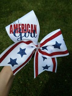 Check out this item in my Etsy shop https://www.etsy.com/listing/398302431/american-flag-cheer-bow-forth-of-july