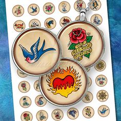 Retro Tattoo art round digital collage sheet earrings charm bottle cap images download cabochon 20mm, 18mm 16mm, 14mm 12mm printable circles