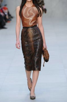 Glossed python-effect suede pencil skirt, Burberry Prorsum ($1,595)