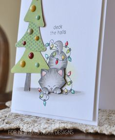Pickled Paper Designs: Deck the Halls With Inky Paws Featured Guest    Deck the Halls cat in Christmas Lights   Card by Amy Sheffer   Newton's Holiday Mischief stamp set by Newton's Nook Designs