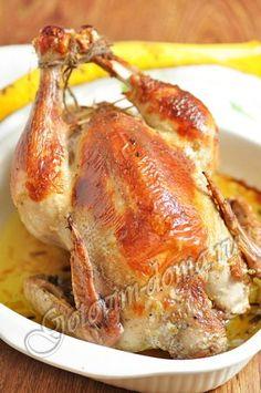 Рецепт: Курица, фаршированная рисом и грибами