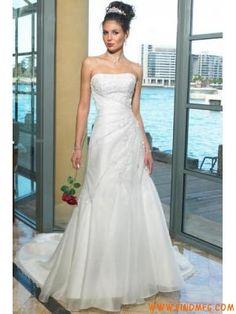 Cintura natural organza vestido de noiva sem mangas, uma lin...