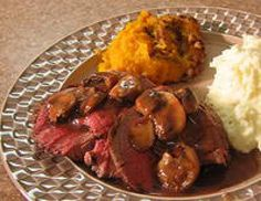 Roasted Beef Tenderloin with Mushrooms and Red Wine Sauce
