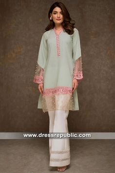 Buy latest Pakistani and Indian Designer Dresses Online. Sleeves Designs For Dresses, Dress Neck Designs, Kurti Neck Designs, Kurta Designs Women, Kurti Designs Party Wear, Stylish Dress Designs, Blouse Designs, Pakistani Formal Dresses, Pakistani Fashion Casual