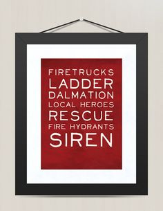 Red Fire Fighter Words Print Set  Fire Fighter by littleredflag, $14.00