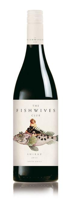 Diseño de etiquetas de vino... con PinUp's!! Muy sugerentes con el nombre: The Fishwives Club ;-D