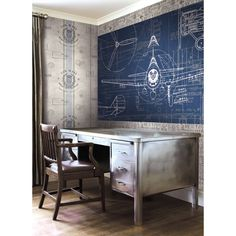 Seabrook Wallpaper JP32400M - Journeys - Airplane blueprint design mural on air mail wallcovering in an office photo